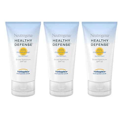 Neutrogena Healthy Defense Daily Moisturizer with Broad Spectrum SPF 50 Sunscreen, Vitamin E & Anti-Oxidants, Lightweight, Non-Greasy & Hypoallergenic, 1.7 fl. oz (Pack of 2)