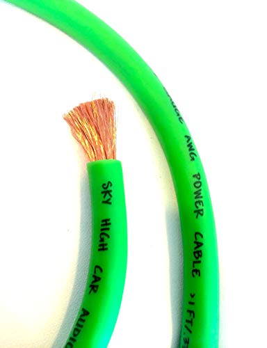 50 ft CCA 1/0 Gauge Oversized Green Power Ground Wire Sky High Car Audio