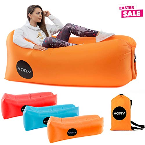 Vorv Inflatable Air Sofa Lounger   Portable Hammock   Anti-Air Leaking Design   Ideal Indoor-Outdoor Couch for Backyard   Camping   Park   Hiking   Traveling   Picnics   Pool   Music Festivals   Beach