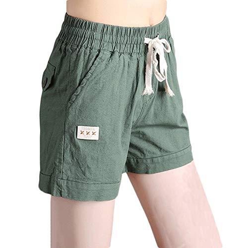 Beach Forti Pants Estate Tessuto Esercito verde Pantaloncini Running Donna Lino Di Taglie Puro Hot Con Yonglan Coulisse Colore POzqwn