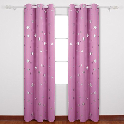 Deconovo-Foil-Print-Solid-Color-Silver-Star-Print-Thermal-Insulated-Blackout-Curtain-Window-Blackout-Drapes-For-Living-Room-One-Pair