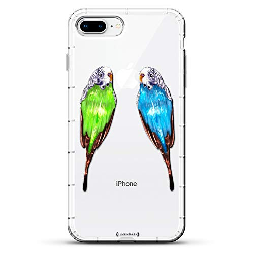 Mirrored Animal - Animals: Blue & Green Mirrored Parrots | Luxendary Air Series Clear case with 3D-Printed Design & Air Cushions for iPhone 8/7 Plus