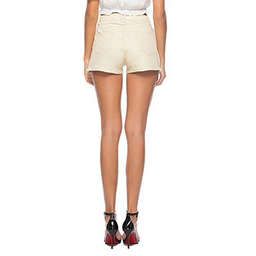 Kairuun Donna Alta Jeans Chiaro Attillati Elasticizzati A Slim Vita Fit Jeans Di Pantaloni Giallo Pantaloncini rrUTgR