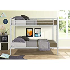 Bedroom N / A Twin Over Twin Bed Frame Metal Bunk Bed Platform W/Two-Side Ladders and Safety Guard Rails Bed Room Furnitures… bunk beds