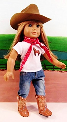 [WESTERN COWGIRL COWBOY OUTFIT ~ 18 Inch Doll Clothes For American Girl HAT,STUDDED BOOTS,JEANS,BANDANNA,HORSE TOP !! COMPLETE] (Cowboy Outfit)