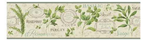 York Wallcoverings KH7042B  Kitchen and Bath Aromatique Border, Beige/Robins Egg Blue/Brown/Green