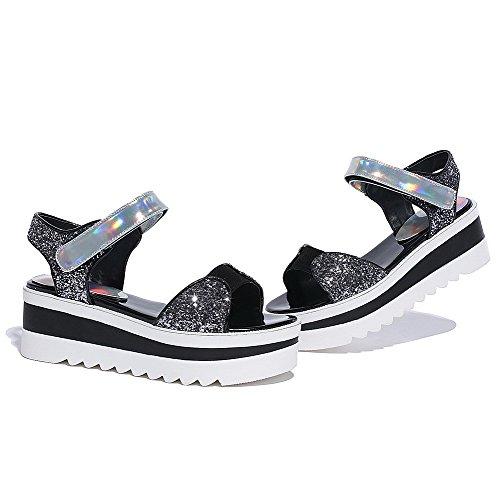 and Color Kitten Assorted Hook Heels Silver Loop Sandals Toe Open AgooLar Women's xqpwIT14Yn