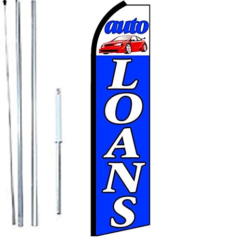 AUTO Loans King Swooper Flag Sign with Complete Hybrid Pole Set