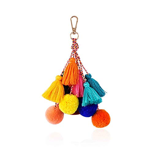 Boho Tassel Keychain, Pom Pom Keychains, Bags Key Chain Rings for Women Girls