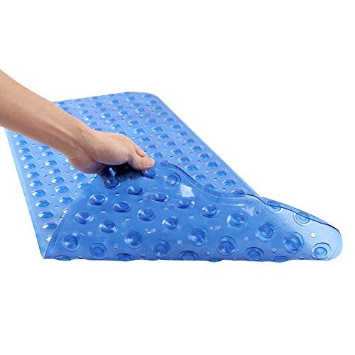 "Felicite Home Anti-Bacterial Anti-Slip-Resistant Bath Mat, 16"" W x 39"" L, Extra Long, Blue"