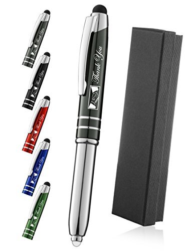 Thank You Gift Pen for Your Boss Coworker Wife Husband Dad Mom Doctor, 3 in1 Stylus+Metal Ballpoint Pen+LED Flashlight-Compatible with Most Phones and Touch Screen Devices,Gunmetal