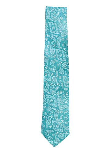 Isaia Men Light Teal Silk Linen Blend Paisley Floral Printed Pattern Tie~RTL$275 ()