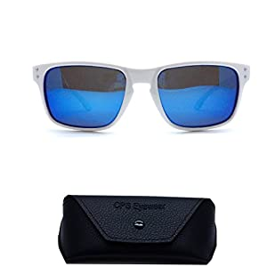 (#MD3033POL Wht) POLARIZED Lenses Glossy White Color Frame with Mirror Blue Lens For Men Women Unisex Sunglasses + Free Hard Case