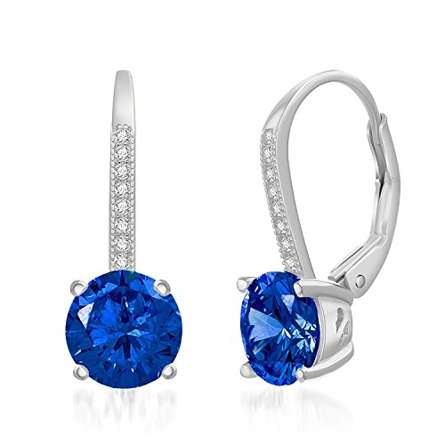 LESA MICHELE Round Blue Simulated Sapphire & CZ Drop Leverback Bridal Gift Earrings for Women in Rhodium Plated 925 Sterling Silver (Immitation September ()