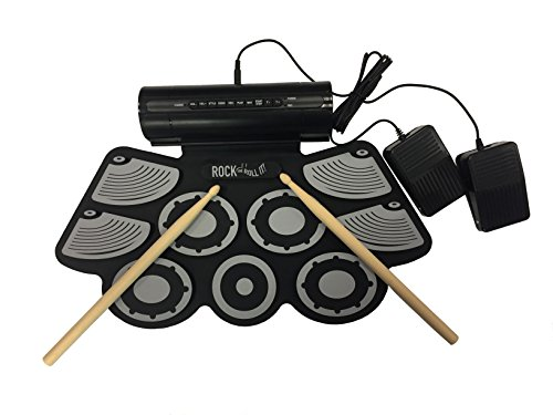 tudio Drum. Flexible, Completely Portable, rechargeable battery (inclluded) OR USB powered drum Attached speaker + 2 Drum Sticks + Bass Drum & Hi hat pedals included! (Compatible Image Drum)