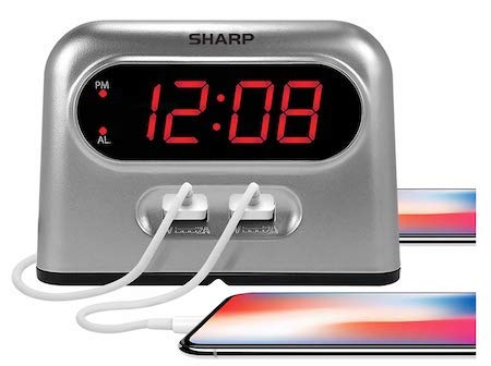 Sharp Digital Alarm Clock with 2 Ultra Fast Charging USB Charge Ports - Twice as Fast as Conventional USB Chargers