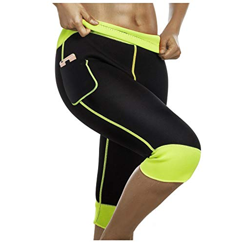 f68d97805e Womens Weight Loss Hot Neoprene Sauna Sweat Pants with Side Pocket Workout  Body Shaper Thighs Belly Slimming Capris Leggings (Black-Green, S)