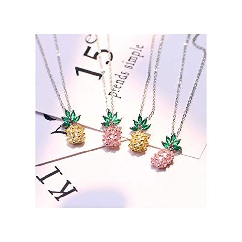 cshoushi 2Colors Stone klace Cubic Zirconia Fruit Pineapple Copper Choker klace for Women Girls (Knife Sterling Fruit)