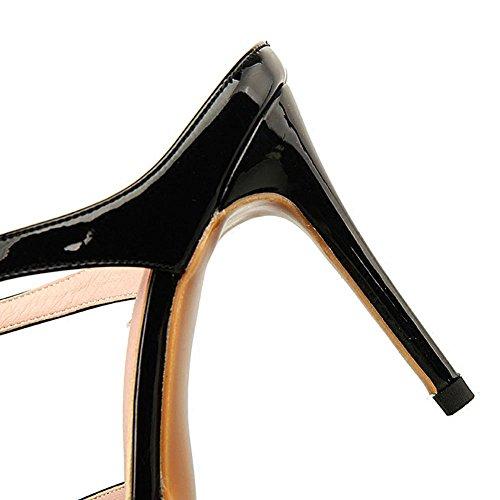 L@YC® Mujeres Zapatillas De Verano Señaló Tacones altos SeñOras Hebilla De Palabra Con Sandalias Black