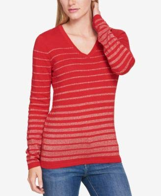 - Tommy Hilfiger Womens Knit V-Neck Pullover Sweater Red L
