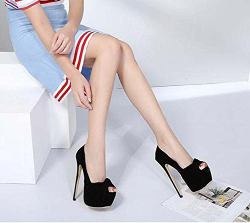 Dress Peep 7cm Shoes Bowknot Party 35 Sandals Pump16cm Wedding Stiletto Shoes Shoes Black 40 Eu Platform Thick Women Toe Seude Size qIzwZfw5
