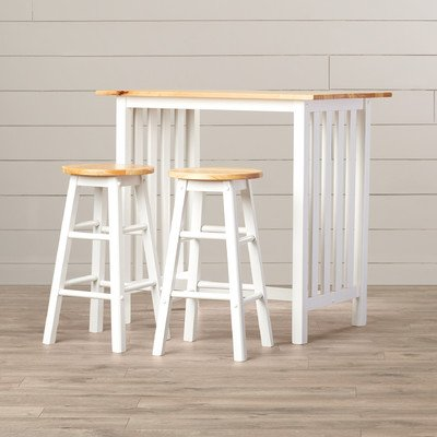 Sigrid 3 Piece Counter Height Pub Table Set by August Grove, Natural wood - Set 36' Pub
