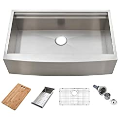 Farmhouse Kitchen KINGO HOME 33-Inch 9 Inch 18 Gauge Single Bowl Handmade Stainless Steel Apron-front Workstation Farmhouse Kitchen Sink… farmhouse kitchen sinks
