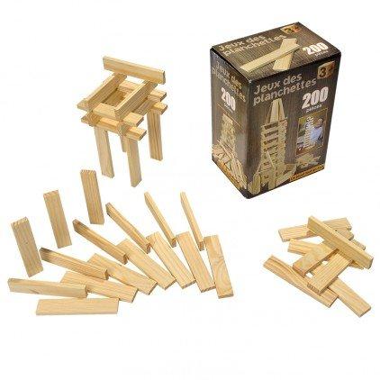 Jeu de construction de 200 planchettes en bois