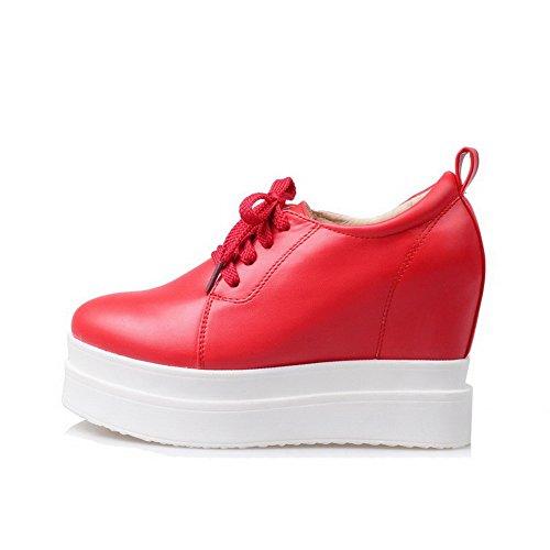AgooLar Damen Schnüren Hoher Absatz PU Rein Rund Zehe Pumps Schuhe Rot