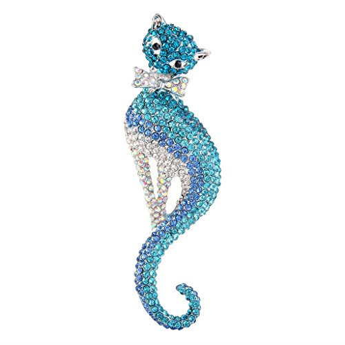 Kitten Pin Brooch - EVER FAITH Women's Austrian Crystal Graceful Kitten Pet Cat with Bowknot Brooch Blue Silver-Tone