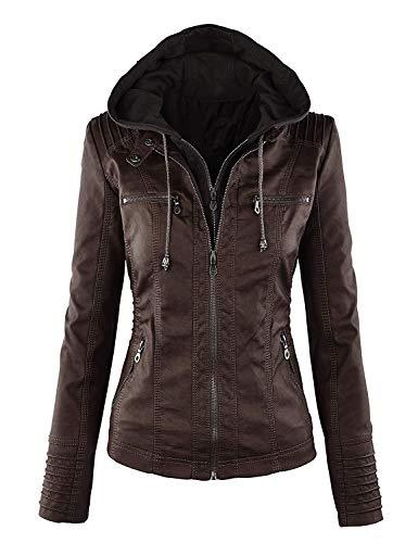 Qingxian cuir Faux Femme en Veste Manteau rqwrUB0
