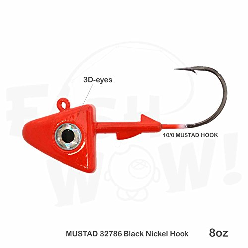 Fish WOW! 8oz Shad Jig Head 32786 MUSTAD Hook 2X Strong 10/0 Black Nickel Hooks Jigheads - Red