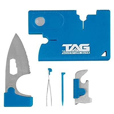 TAG Credit Card Tool MultiTool Knife - Amazing 10 in 1 Wallet Tool with Stainless Steel Survival Knife, Compass, Screwdriver and More! Great Multi Tool Pocket Knife for Home, Office or Outdoors! by The Adventure Guys