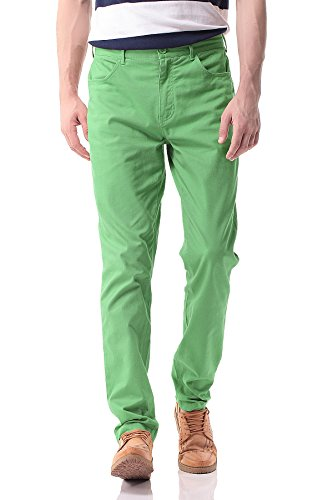 Weekend Chino Cropped Pants - Pau1Hami1ton PH-17 Men's Slim Stretchy Casual Chinos Pants Tapered Work Weekend Office(32,Green)