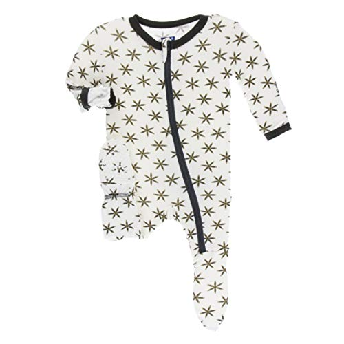 (KicKee Pants Print Footie with Zipper in Natural Star Anise, 9-12 Months)