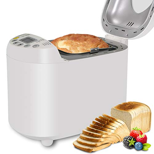 Automatic Bread Maker 2LB Programmable Bread Machine With Gluten Free Sitting, LED Display, Visual Menu (19 Programs, 3 Loaf Sizes, 3 Crust Colors, 15 Hours Delay Timer, 1 Hour Keep Warm) (White) (Bread Baking Machine)