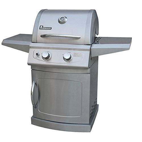 Jur_Global LAN-42204 Falcon 2 Burner 4 Caster Stainless Steel Gas Grill, Silver - Replacement Gas Falcon Grill