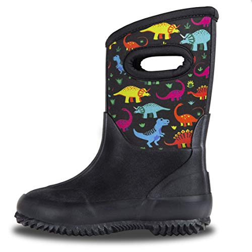 LONECONE Kids' All-Weather Neoprene MudBoots - Boots for Rain, Muck, Snow - Fossil Friends, Toddler 8 (Boys Muck Snow Boots)
