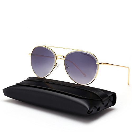DRAGON CHARM Classic Aviator Sunglasses Metal Frame Flat Lenses UV400 - Sunglasses European