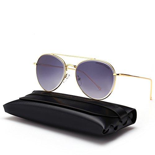 DRAGON CHARM Classic Aviator Sunglasses Metal Frame Flat Lenses UV400 - Sunglasses Aviator Popular