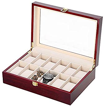 Jewelry & Watches Reliable Faux Leather Watch Case Storage Display Box Organiser Jewelery Glass Top