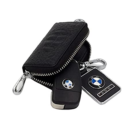 WITERY Genuine Leather Luxury Crocodile Car Key Holder Zipper Key Chain Case Pouch Black