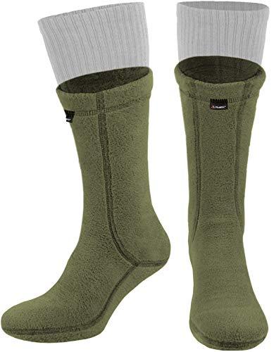 281Z Military Warm 8 inch Boot Liner Socks - Outdoor Tactical Hiking Sport - Polartec Fleece Winter Socks (X-Large, Green Khaki)