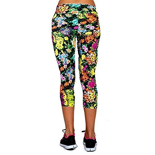 Emimarol Women Pants Print High-Waist Pants Hip Stretch Running Fitness Yoga Pants Cropped Trousers ()