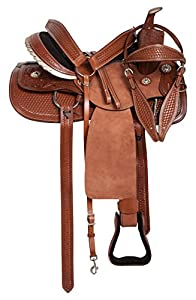 "15"" 16"" 17"" 18"" All Purpose Western Pleasure Trail Ranching Rough Out Leather Horse Saddle Tack Set Headstall Reins Breast Collar"