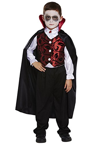 Rimi Hanger Childrens Deluxe Vampire Dracula Costume Boys Fancy Halloween Party Wear Outfit Medium 7-9 Years -