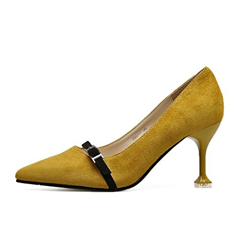 Con Amarillo Mujer Sandalias Cuña Adeesu vwP6qO5x