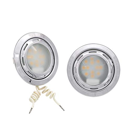 Meerkatt (Pack of 2) 3 Inch Round Warm White LED Replacement Lamp w/G4 Bulb Recessed Ceiling Fixture Housing Light RV Campervan Cabin Travel Trailer Car Van 12V DC Sealed Indicator Flush Mount FB-RS