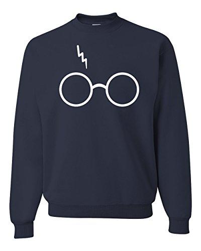 (Wizard Glasses Scar Unisex Crewneck Sweatshirt ( Navy , Small ))