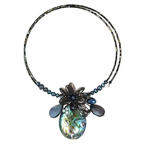 AeraVida Tropical Petals Peacock Abalone Shell Memory Wire Choker Necklace